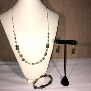 🆕Handmade Greens/Brown Necklace and Earring Set